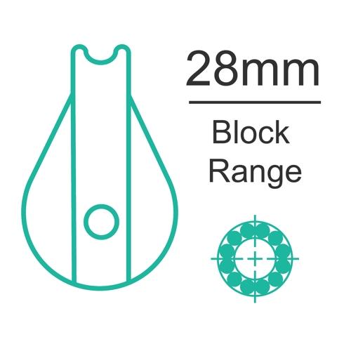 28mm ball bearing block range