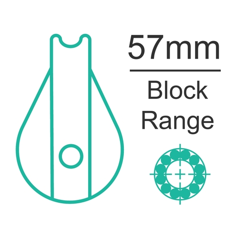 57mm ball bearing block range